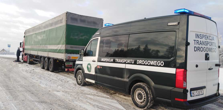 Czynności kontrolne mające na celu sprawdzanie, czy kierowcy pojazdów ciężarowych stosują się do obowiązku jazdy z łańcuchami przeciwpoślizgowymi.