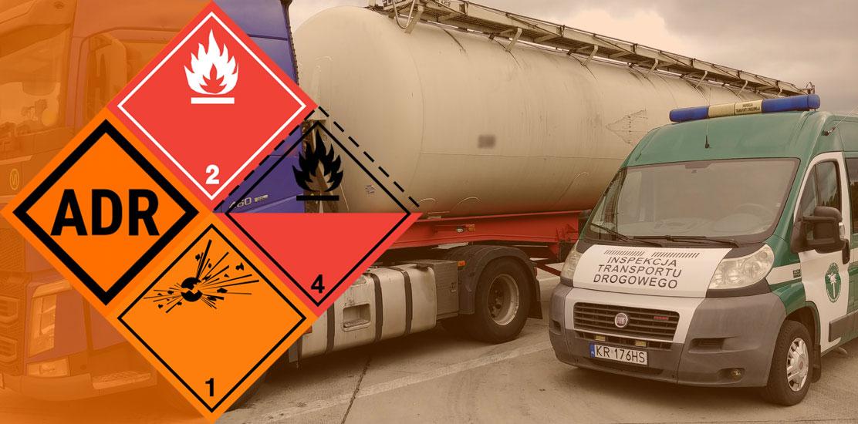 Baner informacyjny - przewóz towarów niebezpiecznych ADR.
